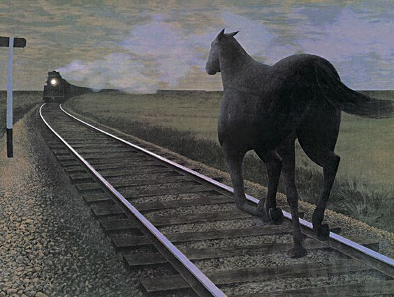 Colville was known to art lovers worldwide for paintings such as Horse and Train, in which a black horse runs along railway tracks toward the light of an oncoming train. Description from pinterest.com. I searched for this on bing.com/images