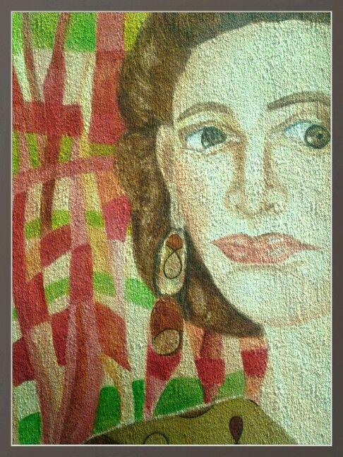 Collage de acuarela sobre papel de algodon tela cosido con hilo de bambu