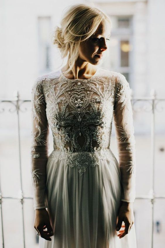 The back of this bride's wedding dress is even prettier than the front