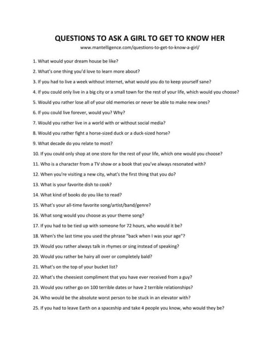 Get to know you questions for girls