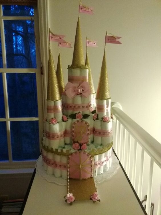 Castle diaper cake, pink and gold.