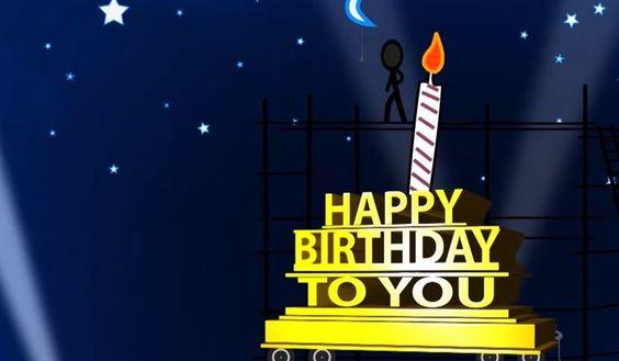 Una graciosa tarjeta de cumpleaños, un pequeño muñeco hace todo lo que puede para que soples las velas en este día tan especial.