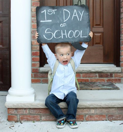 Use a chalkboard prop every year - write the date and year level and slowly build a treasured collection of first day photos - I'd love to do it again on the last day of school as well!  :)