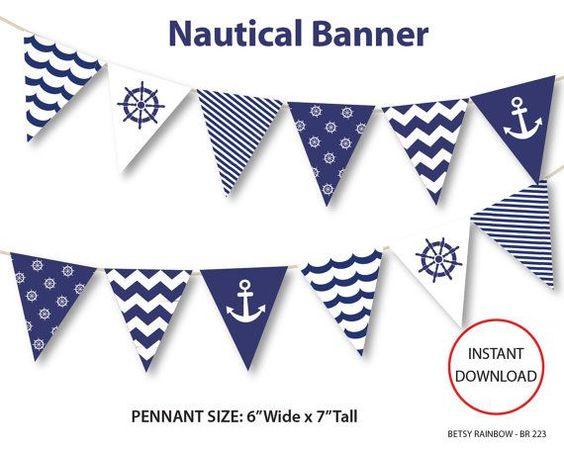 Nautical banner printable nautical birthday party by ciriart 1st nautical banner printable banner nautical diy by betsyrainbow pronofoot35fo Choice Image