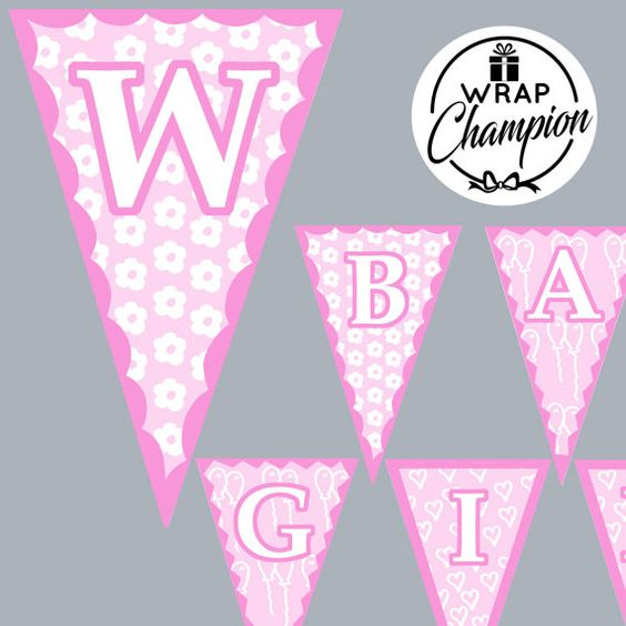 Welcome Baby Girl Banner New Baby Instant by WrapChampion on Etsy
