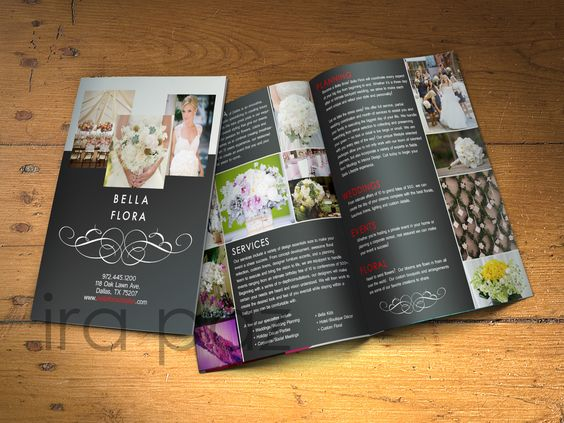 Bifold #Brochure created for a #Wedding #Planning #Business For - sample wedding brochure