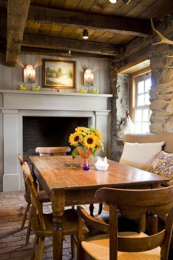 Hugedomains Com Cottage Dining Rooms Cottage Fireplace European Home Decor