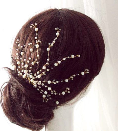Bridal crystal hair comb, Bridal Wedding Freshwater Pearl headpiece, Floral Crystal hair Piece, Twisted Hand wired spray comb on Etsy, £36.92: