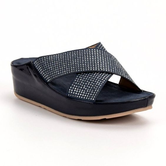 Kylie Klapki Na Koturnie Granatowe Shoes Flats Fashion