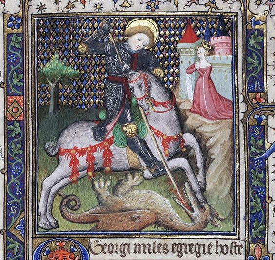 St. George fighting the dragon, from a Book of Hours (Use of Rennes), c. 1400-15, Paris. Philadelphia, Free Library of Philadelphia, Rare Book Department Widener 004, f. 188r. See http://libwww.freelibrary.org/medievalman/detail.cfm?itemID=mcaw041881