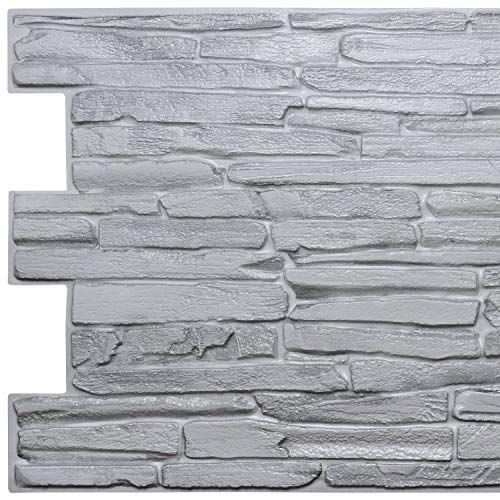 Dundee Deco Pg7011 Grey Faux Flagstone 3 2 Ft X 1 6 Ft Pvc 3d Wall Panel Interior Design Wall Paneling Decor In 2020 Wall Paneling Pvc Wall Panels Vinyl Wall Panels