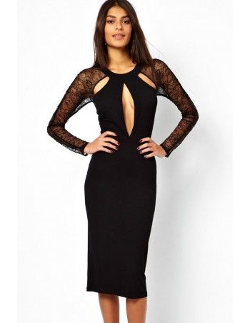 Lace Panel Cut out Midi Cocktail Dress is made from a silky stretch fabric in a slim regular fit. It features a round neckline and the exquisite lace sleeves design reveals you extra feminine grace. The cut out detail to front and back is bold and will make a statement.