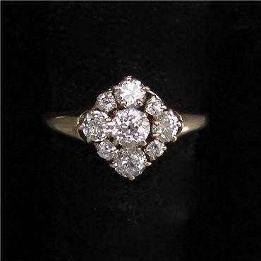 15 Karat Yellow Gold and Diamond Ring