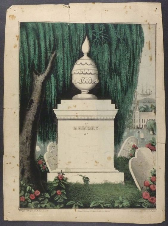 American Memorial Lithograph Hartford C 1840 1850 Handsome Mourning Print | eBay