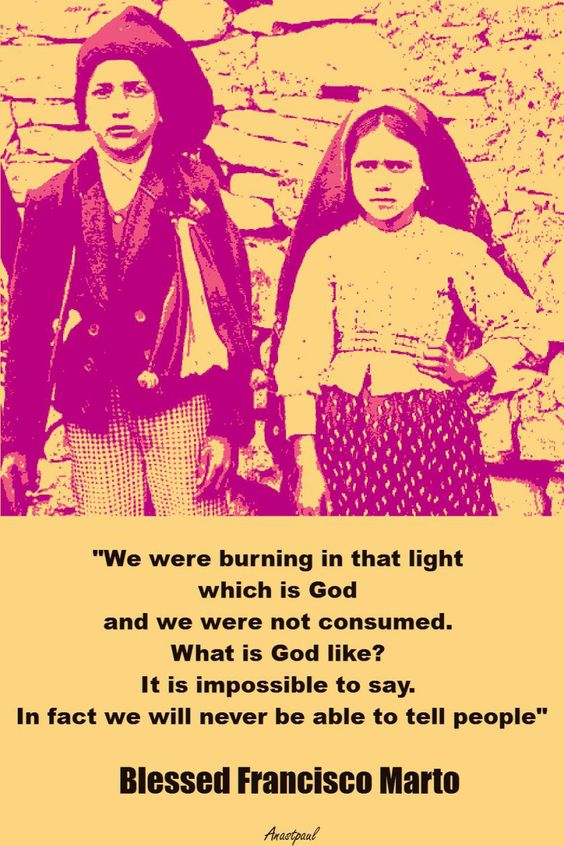 "Quote/s of the Day – 20 February ""We were burning in that light which is God and we were not consumed. What is God like? It is impossible to say. In fact we will never be able to tell people"" ~~~~~ Blessed Francisco Marto of Fatima ""Speak ill of no..."