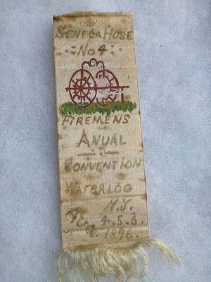 1896 Waterloo NY Fire Department Ribbon w Handpainted Hose Cart   eBay