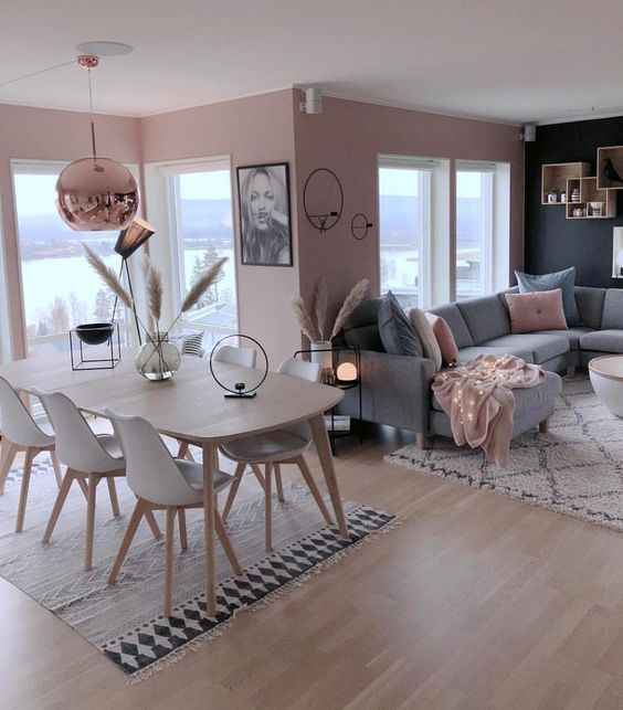 How To Decorate A Grey And Blush Pink Living Room Living Room Grey Apartment Living Room Interior Design Dining Room