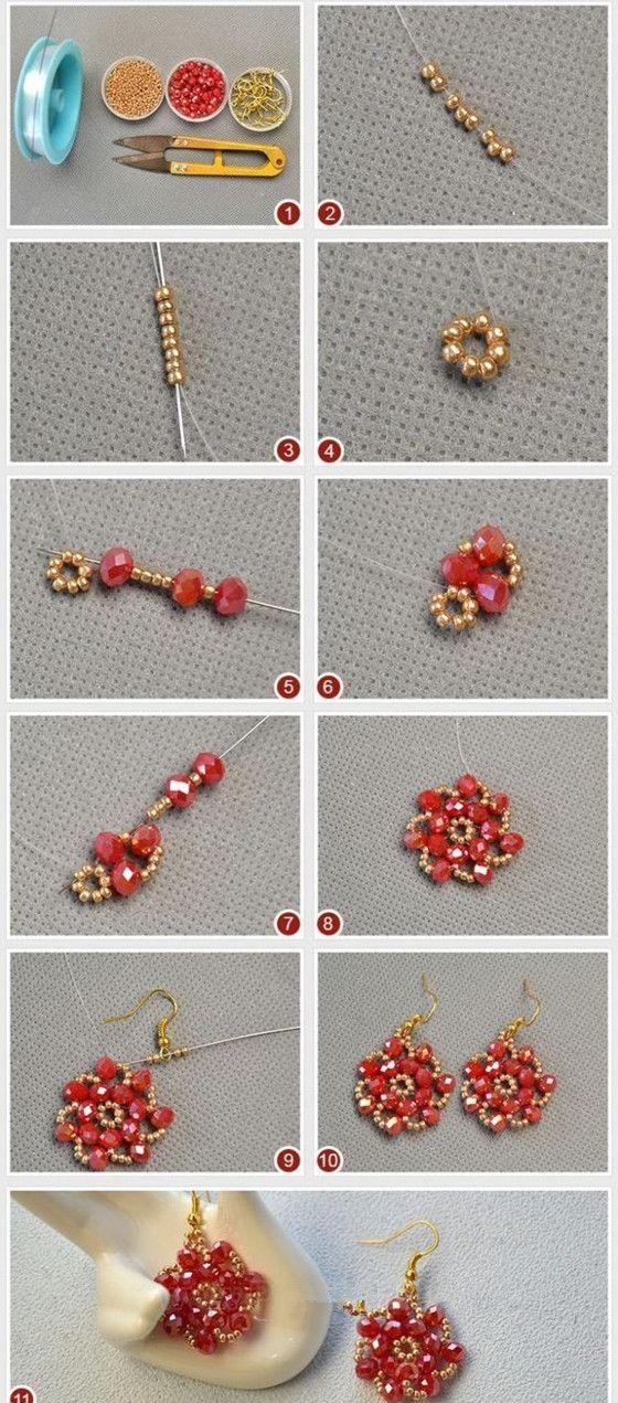 Beebeecraft Seedbead Jewelry Flower Stitchearrings Stitch Seed