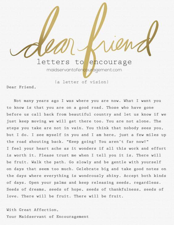 Dear Friend (A Letter of Vision) u2013 Maidservant of Encouragement - encouragement letter template