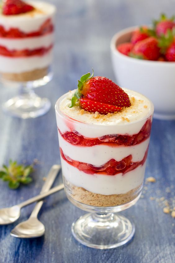 Lightened-Up Strawberries and Cream Parfaits   brighteyedbaker.com