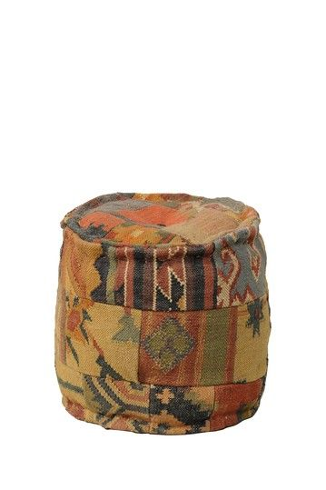 Classic Concepts - Malkara Kilim round pouf ottoman. This line is reading my soul.