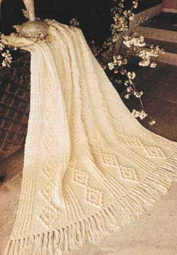 Bobble Diamonds give an Aran Afghan a cabled appearance