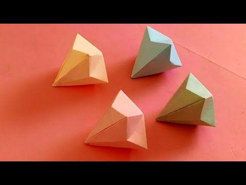 صنع اشياء بالورق كيف تصنع جوهرة الألماس بالورق Make A Paper Diamond Decor Home Decor Ring Holder