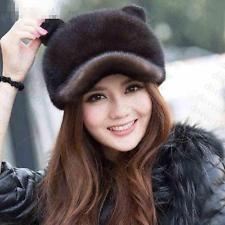 Winter Women Real New Mink Fur Hat Cap Headgear Beanie Beret QS 0004.2