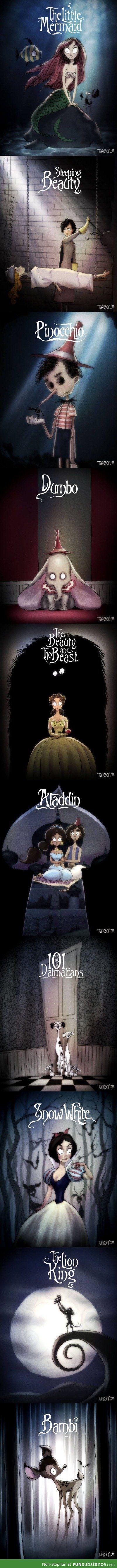 Tim Burton style Disney posters