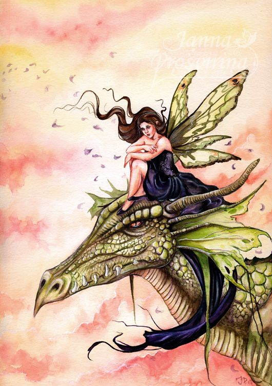Daydreaming by ~Kuoma on deviantART ~ fairy ~ dragon