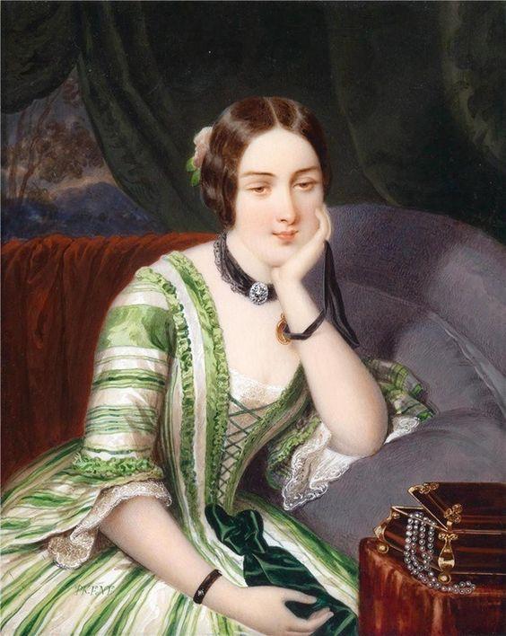 Адольф Theer - Портрет мечтательной молодой женщины в зеленом полосатом платье, сидя на ювелирных изделий Case (1850):