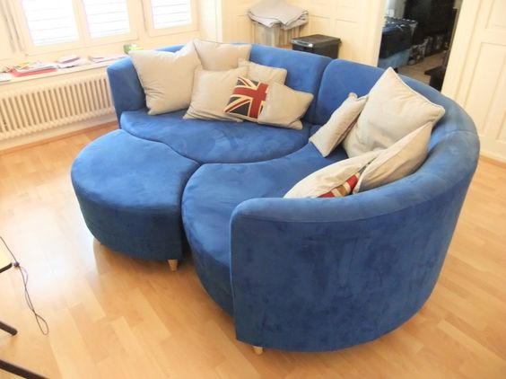 Sofa room living room round comfy couch blue couches beige clean ...