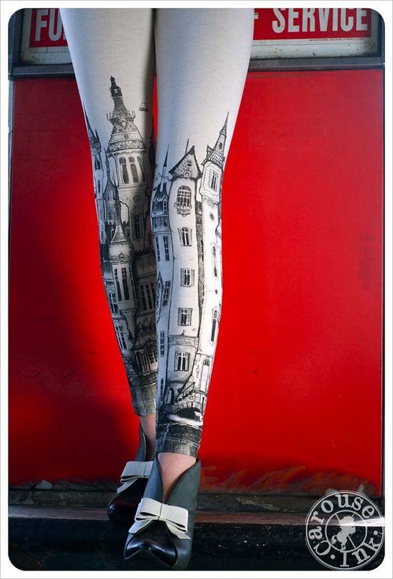 Victorian City Leggings - Off white Leggings - Womens leggings ...