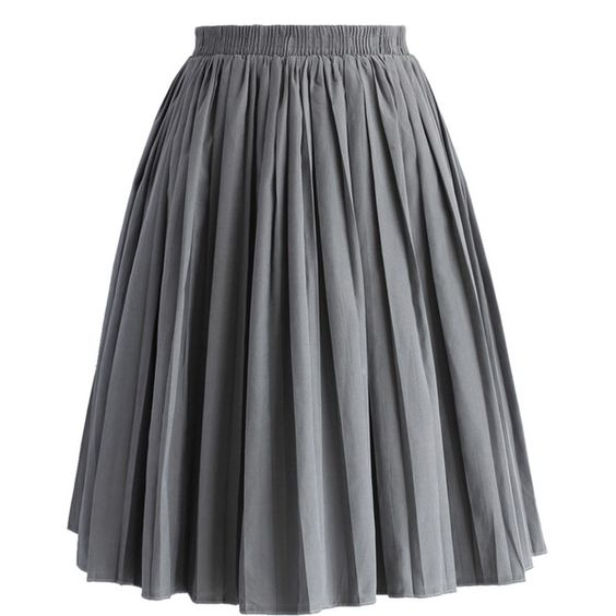Chicwish Accordion Pleated Skirt in Grey featuring polyvore, fashion, clothing, skirts, bottoms, grey, gray pleated skirt, accordion skirt, pleated skirt, gray skirt and knee length pleated skirt