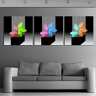 Stretched Canvas Print Art Abstract Colorful Leaves Set of 3 – USD $ 59.99