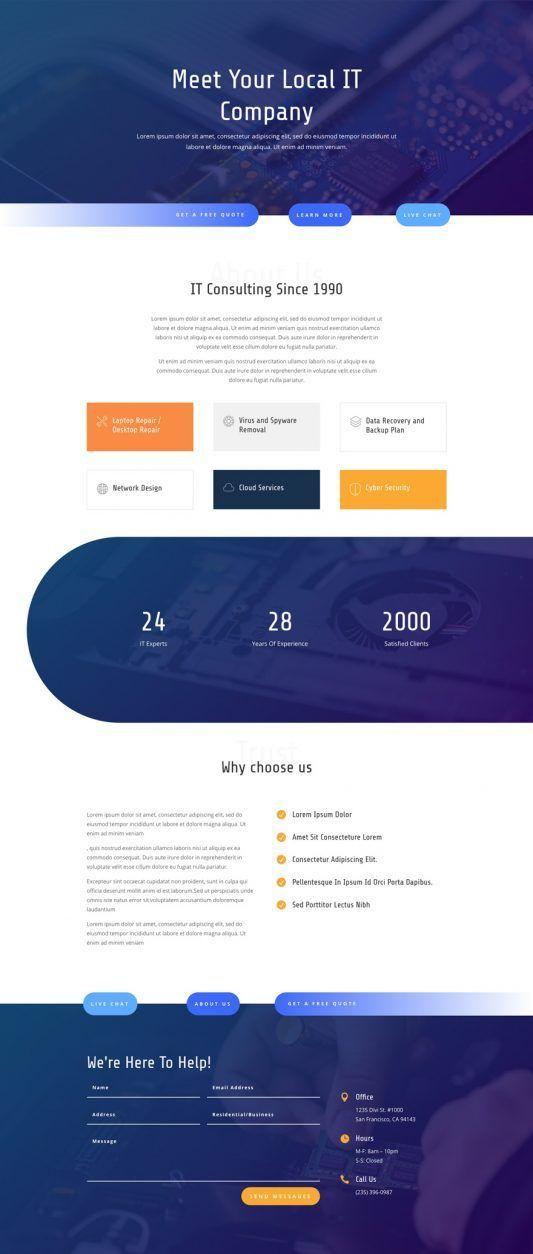 It Services Landing Page Elegant Themes Modern Web Design It Company Website Web Layout Design