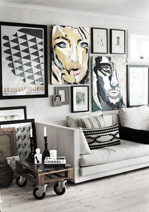 Gallery Wall   Sköna Hem-love the use of framed art and canvas:
