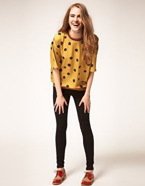 ASOS Batwing T-shirt with Spot Print - see how much fun it is to wear yellow?!