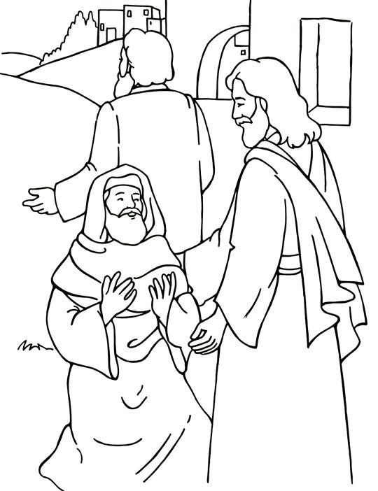 Jesus Heals A Little Boy Coloring Page