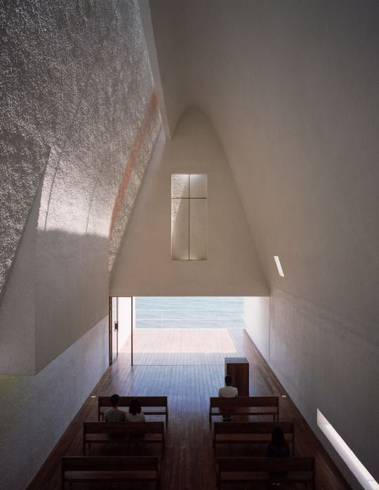 [Seashore Chapel, Vector Architects] Light wells, clean track glass, timber and water.