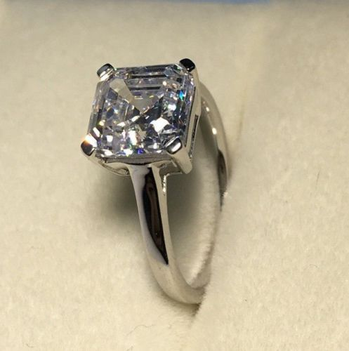 3.00 Ct Asscher Cut D//VVS1 Diamond 14K White Gold Fn Solitaire Engagement Ring