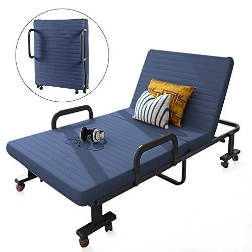 Luxury Futon Bed Wooden Frame Guest Sofa Bed Folding Mattress Single Blue