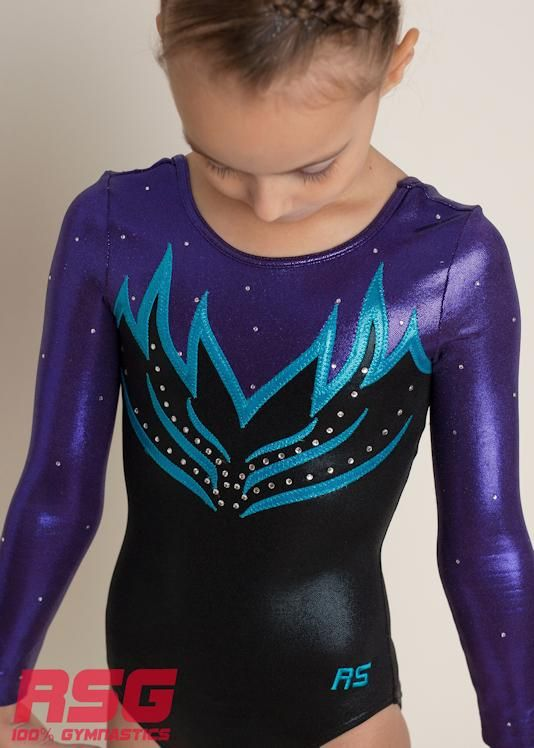 Girl/'s Gymnastic Leotard Gym 19 Purple Long Sleeve Leotard