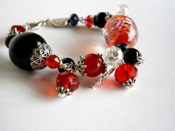 Bracelet Black and Red bracelet  Rose Murano Glass by NataliStudio, $10.00