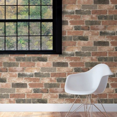 Newport Reclaimed Brick Peel And Stick Wallpaper Brewster Nuwallpaper 39 95 Per Roll Now You Can Peel And Stick Wallpaper Brick And Wood Brick Wallpaper
