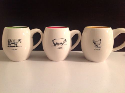 brand new magenta rae dunn moo oink cluck farm animals cups mugs