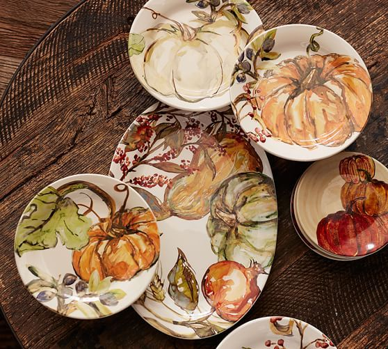 Watercolor Pumpkin Plates Set Of 4 Pottery Barn Table