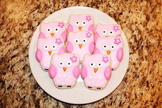 Pink Owl Cookies by DeliciousDozen on Etsy, $24.00
