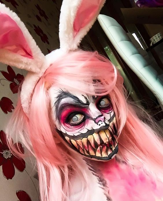 Demon Bunny special effects makeup idea paired with Frosty blind-eye FX contact lenses ~ https://www.pinterest.com/pin/350717889705763104/