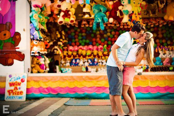 Engagement shoot at a carnival